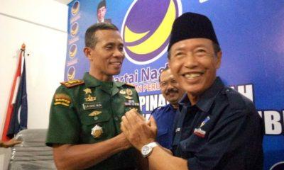Komandan Kodim 0824 Jember Letkol Inf La Ode M Nurdin bersama Ketua DPD Partai Nasdem Jember, Marsuki Abdul Ghofur. (ist)