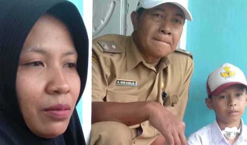 Siti, ibu Resa saat diwawancarai media. (ist)
