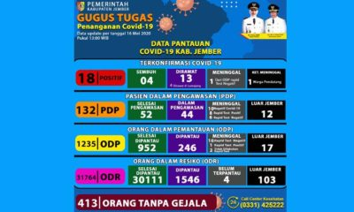 Data update dari satuan Gugus Covid-19 - Kabupaten Jember. (ist)